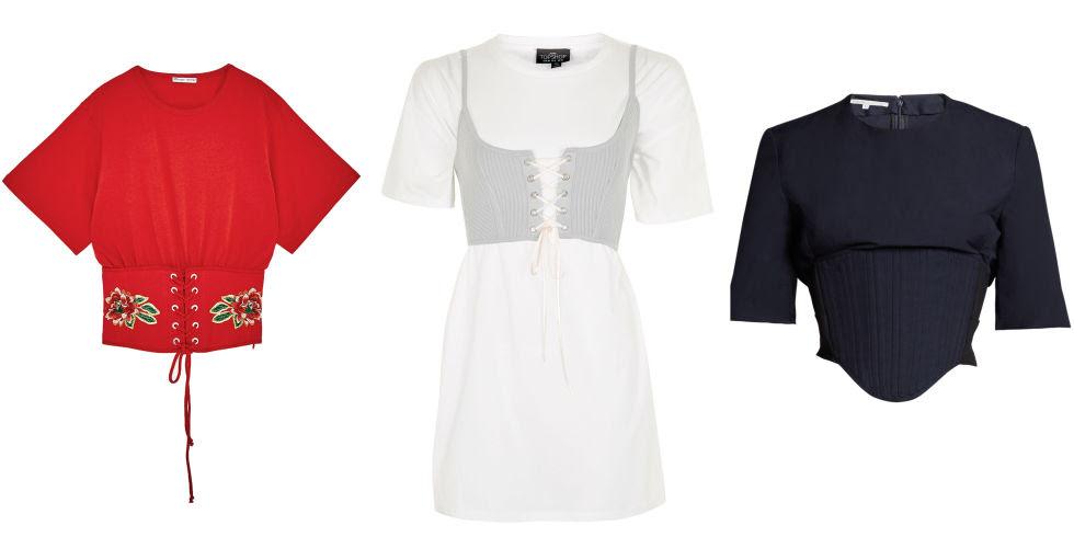 Zara corset t-shirt, $40, zara.com; Topshop corset t-shirt, $60, topshop.com; Stella McCartney corset t-shirt, $546, matchesfashion.com.