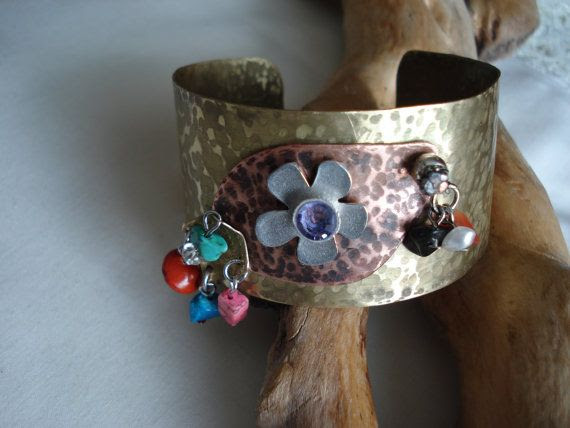 Handhammered, Flamed Bronze/Copper Bracelet with Beads