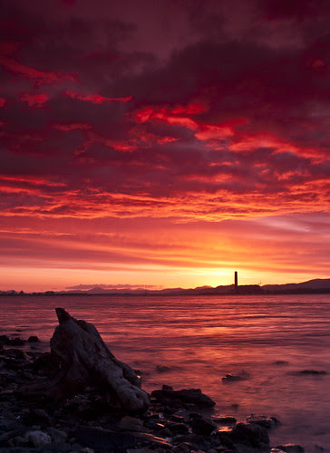Red Sky Sunset over Kincardine Power Station by Graeme Forrest