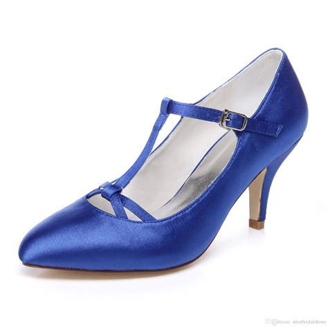 Handmade Nice Buckle Wedding Shoes Blue Bridal Shoes