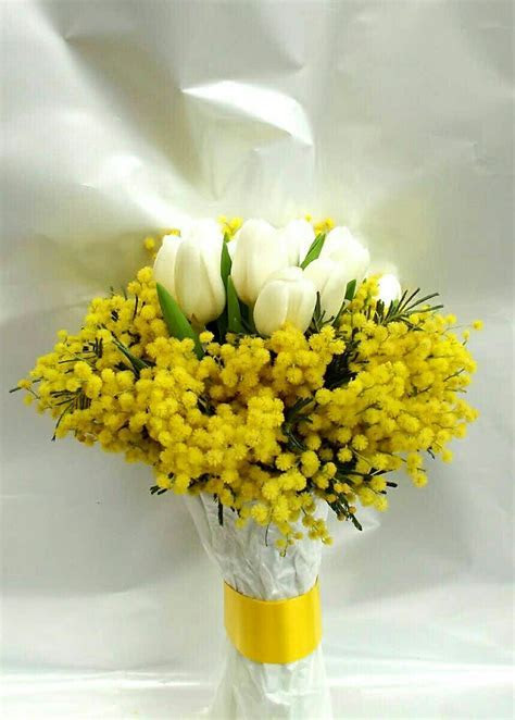 White Tulips   Yellow Mimosa Flower (Acacia) Wedding