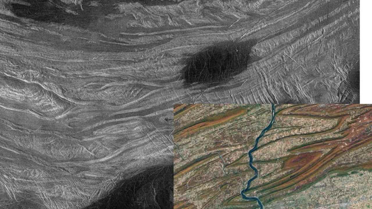 Fold mountains in Ovda Regio, Venus. The insert is a similar view of part of the Applachians in central Pennsylvania. NASA/JPL