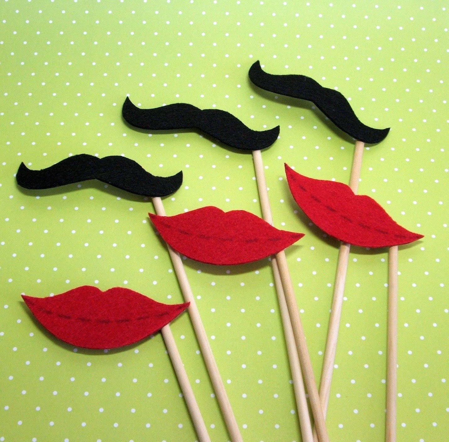 Imperial Moustache and Oh So Kissable Lips Photo Prop Set of 6