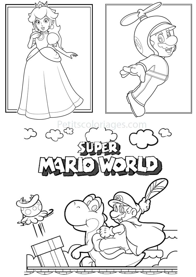 Petits coloriages mario super mario world yoshi plante princesse peach mario hélice