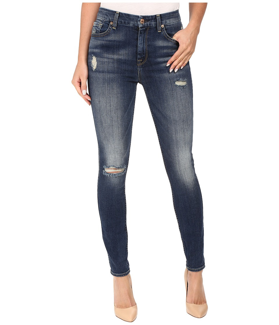 7 For All Mankind - The High Waist Skinny w\/ Destroy in Vintage Kensington (Vintage Kensington) Women's Jeans