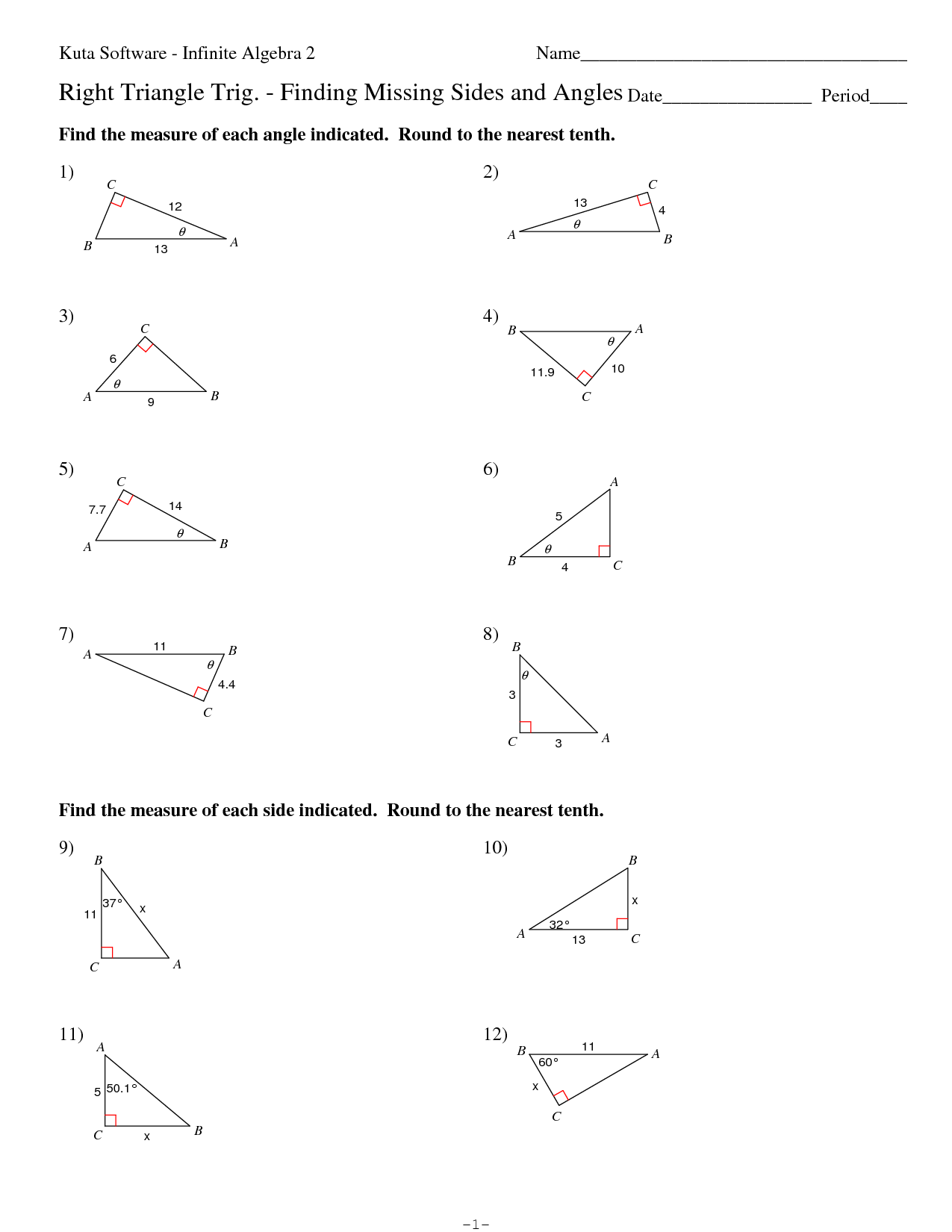 7 Best Images of Angle Measures In Triangles Worksheets ...
