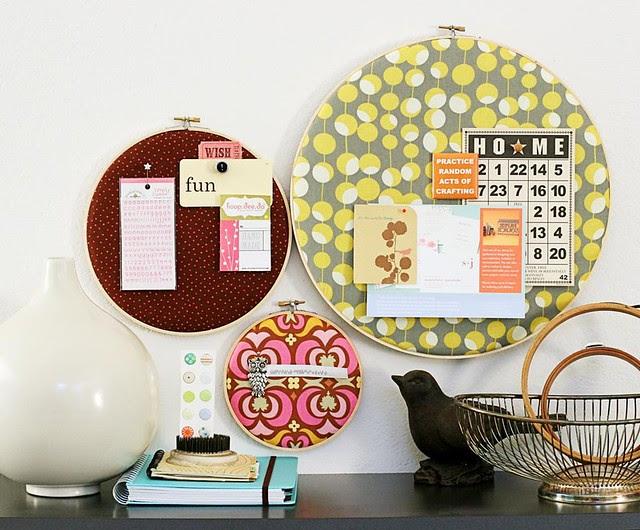 fabric hoop bulletin board