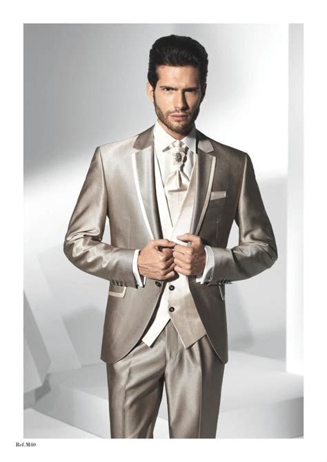 2015 New Best Design Lapel Champagne Wedding Suits For Men