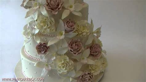 Cascading Roses & Orchids Wedding Cake   YouTube
