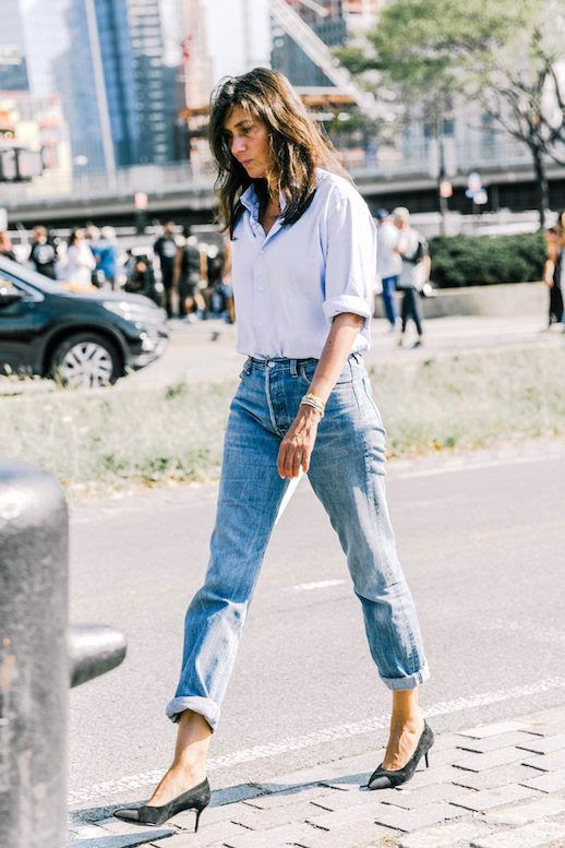 Le Fashion Blog Street Style Emmanuelle Alt Blue Button Down Shirt Boyfriend Jeans Suede Cap Toe Pumps Via Collage Vintage