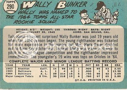 #290 Wally Bunker (back)