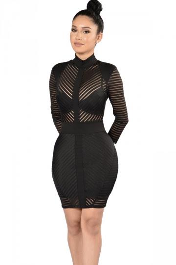 Mock Neck Monochrome Stripe Long Sleeve Dress
