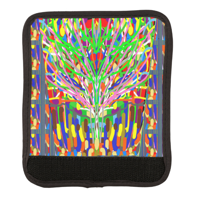 Luggage Handle Wrap Abstract Graphic Tree Colorful