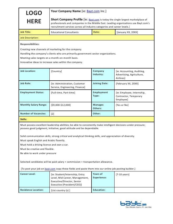 job description templates tasarman web