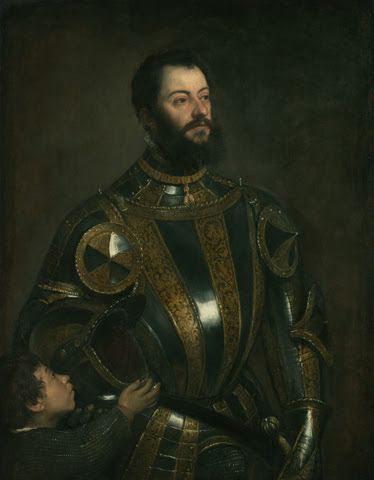 Titian Portrait of Alfonso d'Avalos, Marquis of Vasto, in Armor with a Page