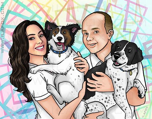 retrato personalizado, retrato digital, retrato clássico, retrato casal, retrato casal e cachorros, retrato ano novo, ila fox