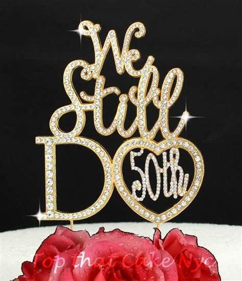 gold  wedding anniversary rhinestone cake topper party