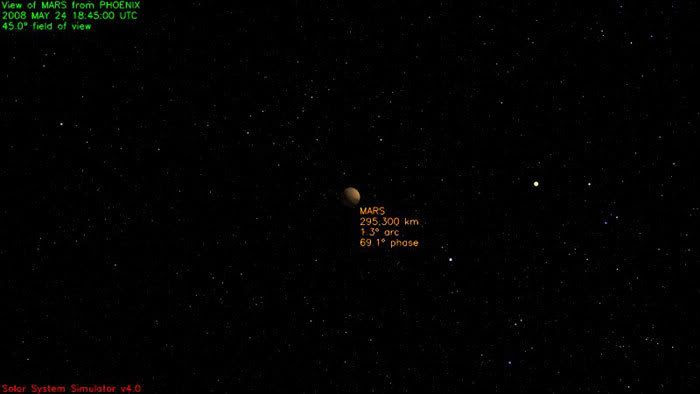 Mars as seen from Phoenix's current position in space at 11:45 AM, PDT, on May 24, 2008.