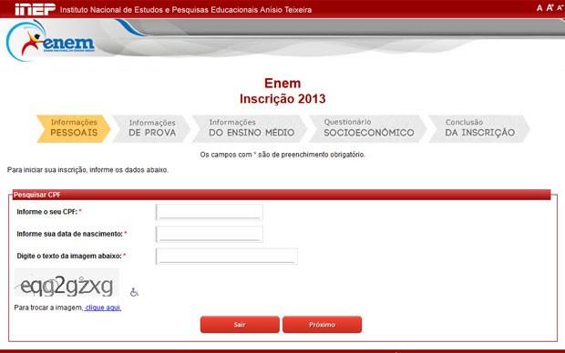 Site para inscrição do Enem está no ar (Foto: Reprodução)