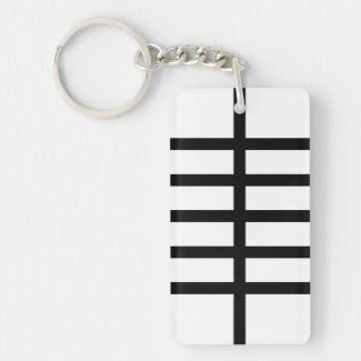 5 Bisected Black Lines Rectangle Acrylic Key Chain