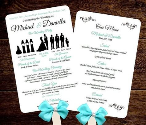 diy silhouette wedding fan program  menu printable