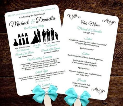 diy silhouette wedding fan program  menu printable