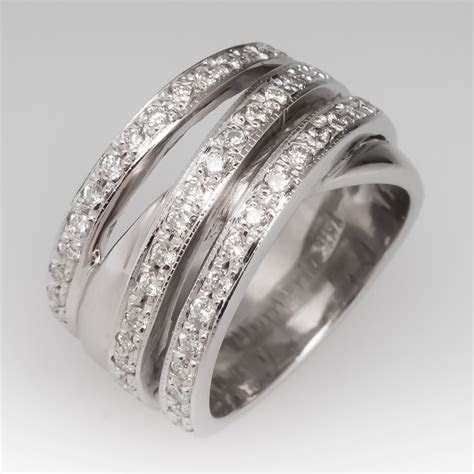ladies wide band diamond ring  white gold