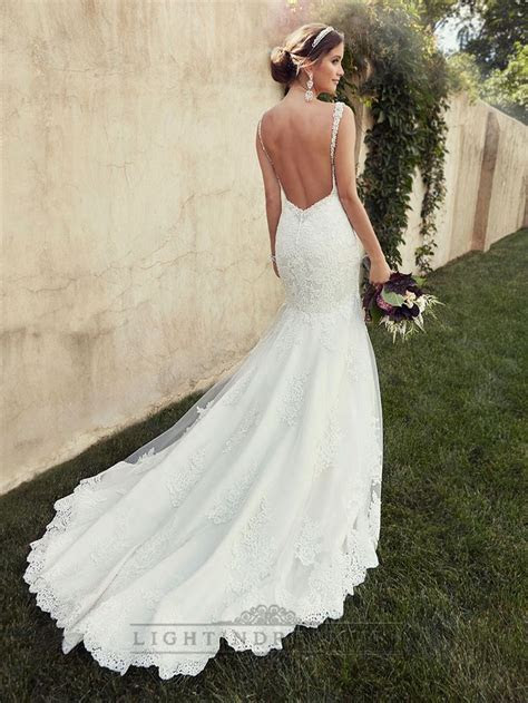 Beading Straps Sweetheart Fit and Flare Lace Wedding