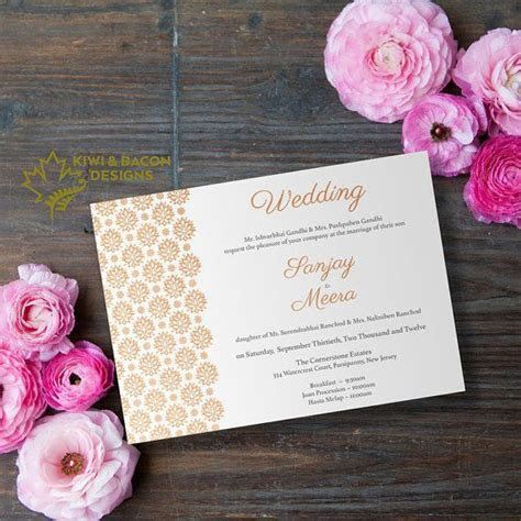 Indian Wedding Invitation Card Simple Mughal by