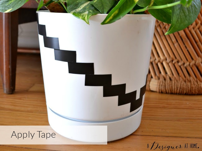 black and white southwestern inspired planter upgrade