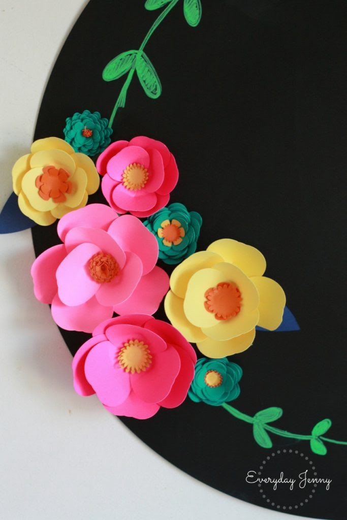3D-Cricut-Paper-Flowers-Magnets-Up-Close-Bottom-Chalkboard