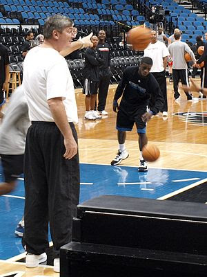 Former NBA center Bill Laimbeer coaching the M...