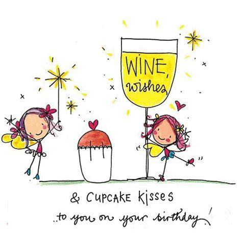 Wine Wishes And Cupcake Kisses! Free Happy Birthday eCards
