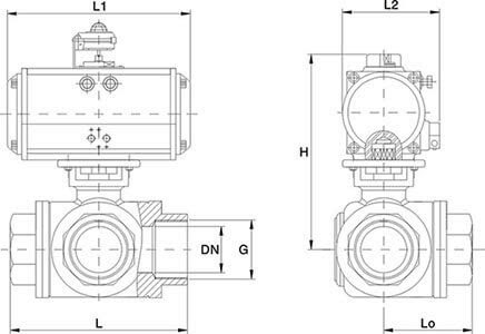 Stainless Steel 3 Way Pneumatic Ball Valve L T Port