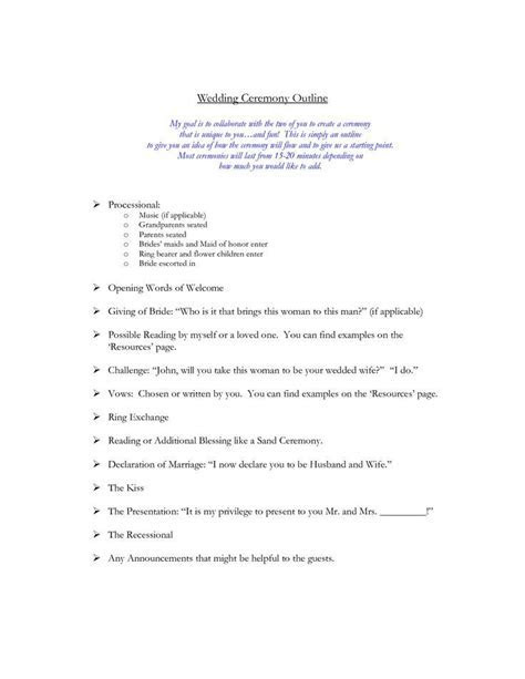 Wedding Ceremony Outline:    Wedding officiant stuff   Weddi