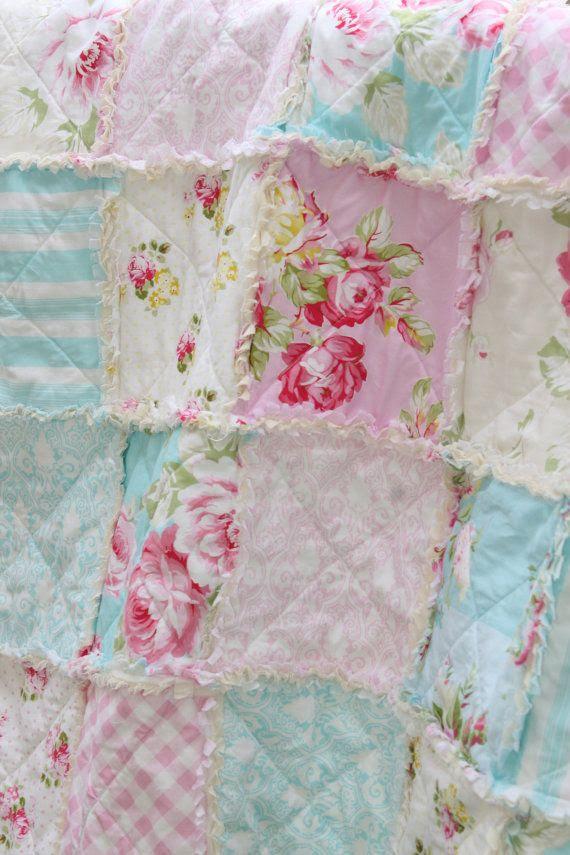 Crib Rag Quilt Baby Girl Crib Bedding Shabby Chic Nursery Sunshine Ro…