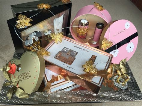 Indian wedding gift baskets Perfumes lights gold   my