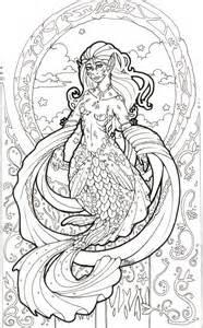 art nouveau mermaid inked  howlinggreywolf