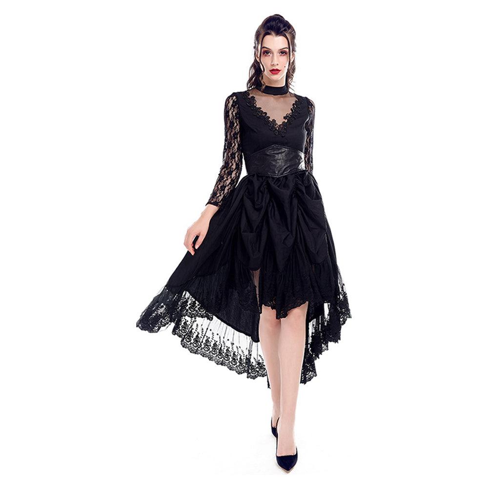 elegant kleid aus spitzen damen langarm unregelmässig cocktailkleider party  ballkleid