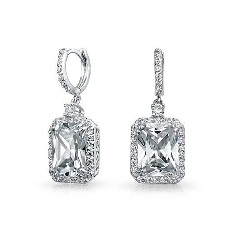 Rhodium Plated Brass CZ Emerald Cut Drop Earrings