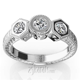 Three Stone Antique Bezel Set Diamond Engagement Ring (1
