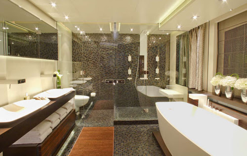 Luxury Yacht Charter INCEPTION - Master Bathroom - Mark Wallace ...