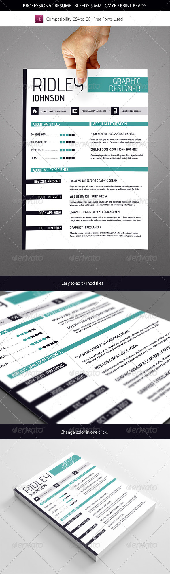creative indesign resume template  resumes  download