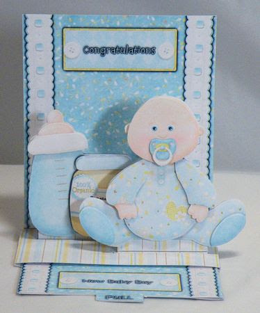 new baby boy pop-up slider card kit on Craftsuprint designed by Michelle Johnson - made by Hazel Pepper - I printed all of the sheets onto photo paper and sheets c, d