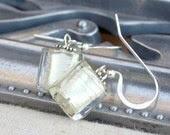 Earrings of handmade Italian glass in white gold foil