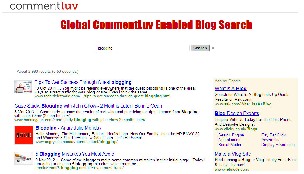 CommentLuv Search