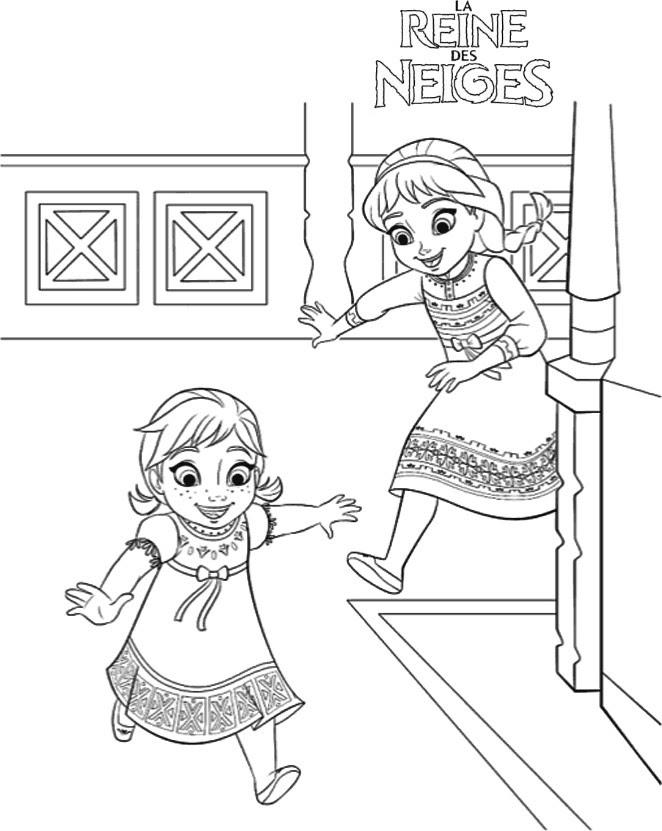 Coloriage A Imprimer Elsa Et Anna Enfants Qui Jouent Gratuit Et Colorier