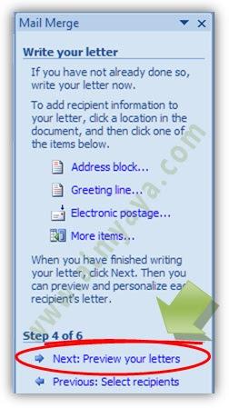Gambar: Melanjutkan dengan preview surat mail merge di microsoft Word