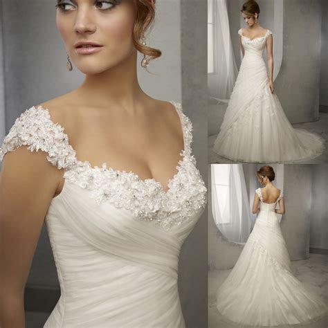 Latest Design Vintage Wedding Dress Lace Cap Sleeve Beaded