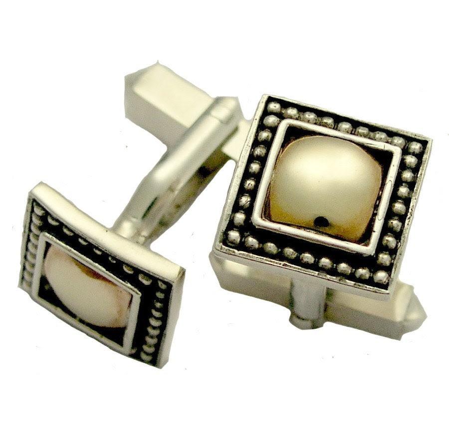 Jupiter  -  Sterling silver combined 9K yellow gold cufflinks.